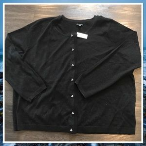Talbots Black Shimmer Cardigan with Pearl Buttons